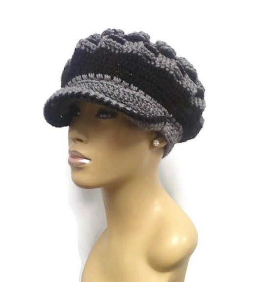 MADE TO ORDER Grey and Black Newsboy Hat Beret Beanie with  8624775648f5