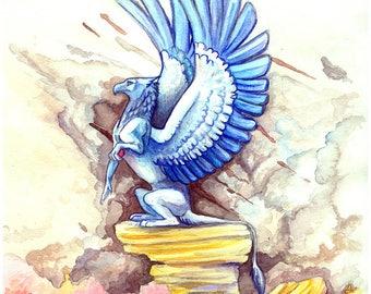 "Desert Gryphon 5X7"" Signed Watercolor Gryphon Fantasy Art Print"