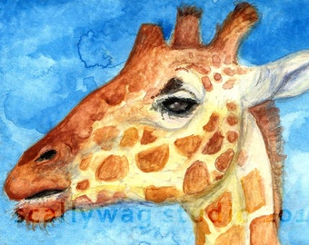 "Giraffe Face 5x7"" Signed Watercolor Art Print"