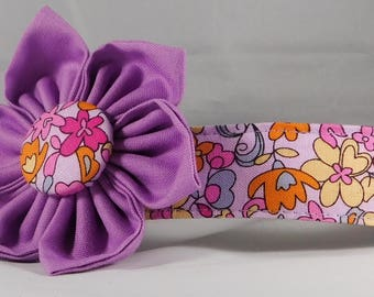 Dog Collar with Flower - Summer Garden - All Sizes