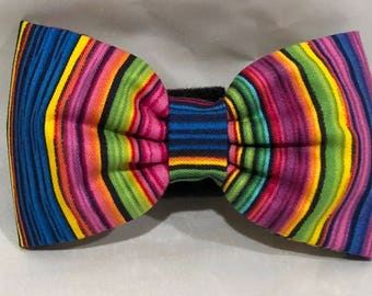 Dog Flower, Dog Bow Tie, Cat Flower, Cat Bow Tie - Multi Pinstripe