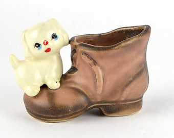 Vintage White Dog Puppy Shoe Toothpick Holder Tiny Planter