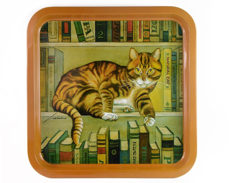 Vintage Tin Tray Cat Books Library 1984 Lowell Herrero