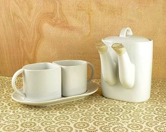 Vintage Modern White Ceramic Tea Set Sigma Taste Setter Like New