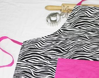 ready to ship Zebra /& Hot Pink Doll Apron