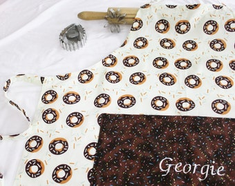 Personalized and Ruffled Donuts on Turquoise Adult Apron with white sprinkles pocket and ruffle made to order