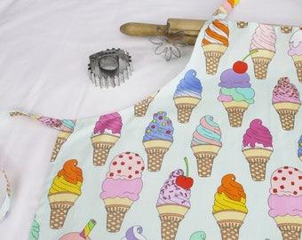 Ice Cream Cones on Mint Adult Apron