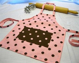 Pink N Brown Dot Child Apron