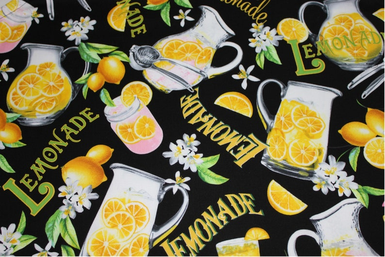 ready to ship Lemonade on Black Adult Apron with yellow pocket