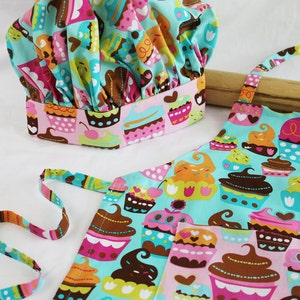 Sweet Cupcakes Child Apron and Adjustable Chef Hat ready to ship pink
