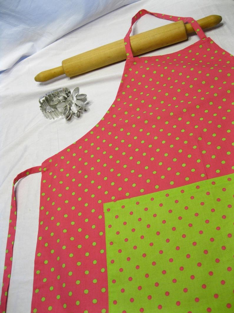 Pink /'n Neon Green Polka Dots Adult Apron ready to ship