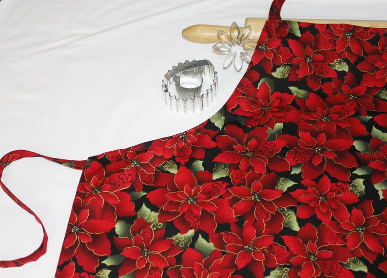ready to ship Red Poinsettias Adult Apron