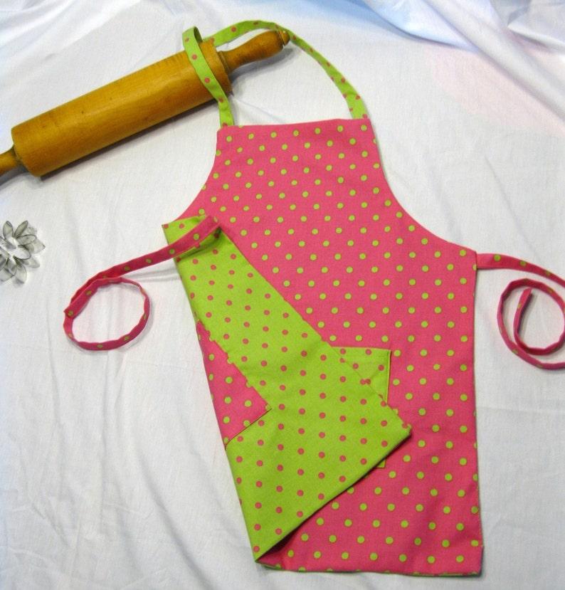 Hot Pink N Neon Green Polka Dot ready to ship Reversible Child Apron