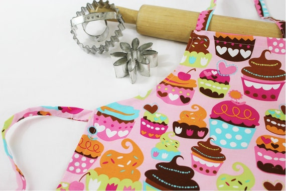 Gourmet Pink Cupcakes Doll Apron ready to ship
