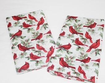 Cardinals and Holly Cloth Napkins - Double Sided, Thick and Large - set of 2