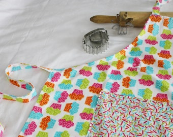 Neon Cupcakes Adult Apron with sprinkles pocket