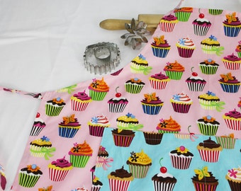 Retro Pink Cupcake Adult Apron with teal cupcake pocket
