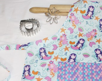 Mermaids Youth Size Apron with pocket