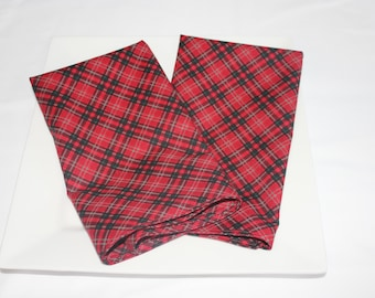 Red Plaid Cloth Napkins - Double Sided, Thick and Large - set of 2