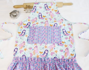 Mermaids Ruffled Child Apron - with pocket and ruffle - ready to ship