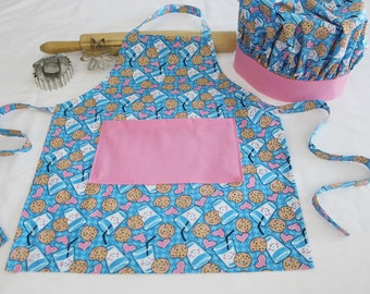 Cookies and Milk Child Apron and Adjustable Chef Hat with pink pocket and trim