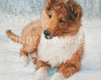 """Collie Puppy Print """"Winter's Magic"""", Limited Edition Giclee Print"""