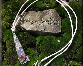 Moss Agate and Sterling Silver Succulent Pendant on Metallic Pearl Leather Cord - The Cottage Garden Collection