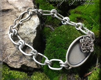Sterling Silver Handcrafted Oval Succulent Bracelet - The Cottage Garden Collection