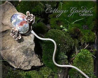 Hair Stick or Scarf Pin - Sterling Silver Succulent and Moss Agate - The Cottage Garden Collection