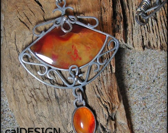 Sterling Silver and Oregon Carnelian Fan Pendant on Leather Cord - OOAK