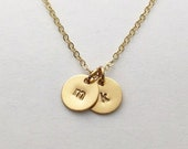 Gold Initial Necklace, Wife Gift, Gold Disc Necklace, Personalized Family Necklaces, Mother's Necklace Children's Names Personalized Jewelry
