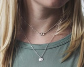 Personalized Disc Necklace, Tiny Initial Jewelry, Mommy Necklace, Family Jewelry, Silver Initial Necklace, Gift for Mom, Wife Gift, Monogram