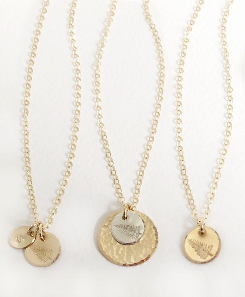 Initial Necklace Fern Jewelry Personalized Jewelry Meaningful Jewelry Symbol Jewelry Fern Necklace Botanical Personalized Disc Necklace