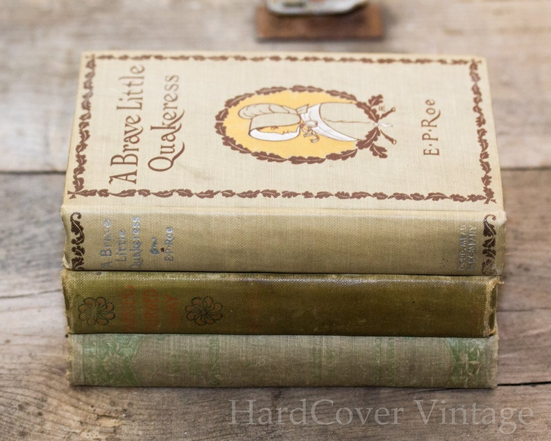 Three Hard Cover Antique Books 19th Century Photo Backdrop image 0