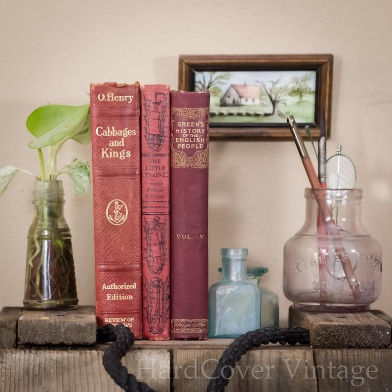 Three Hard Cover Antique Books 20th Century Photo Backdrop image 0