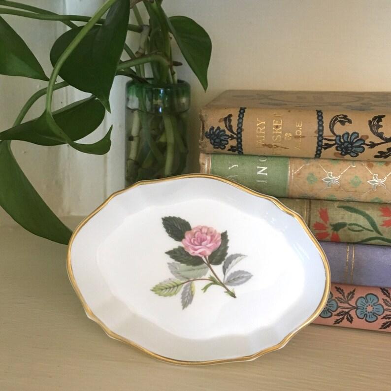 Vintage Wedgwood Jewelry Dish Bone China Hathaway Rose Made image 0