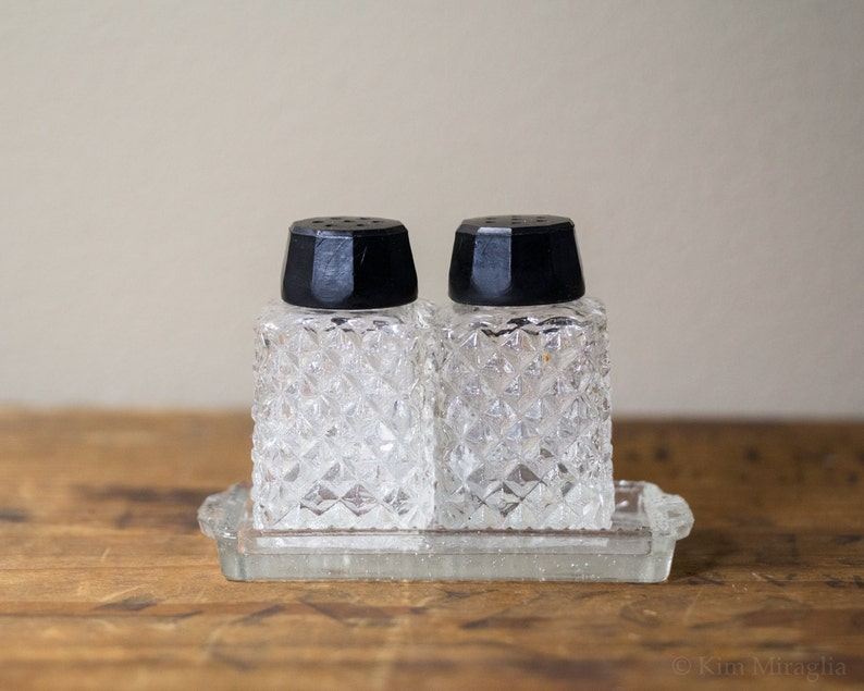 3pc Pressed Glass Salt and Pepper Shakers from Japan with image 0