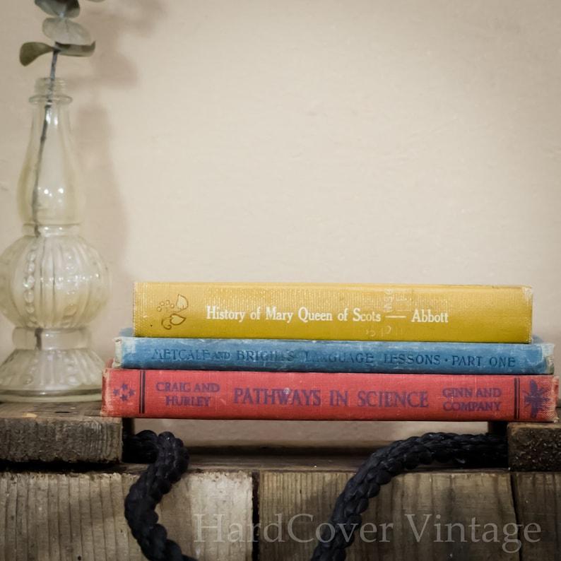 Three Hard Cover Antique Books 19th Century Photo Backdrop image 0