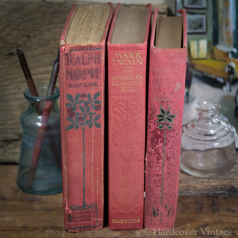 Set of Three Hard Cover Antique Books Shabby Decor Display image 0
