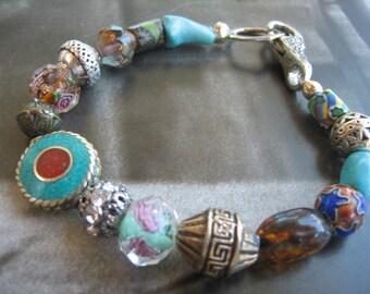 Unisex Antique Tribal Trade beads Bracelet Turquoise focal bracelet Harriet Love Jewelry nomadic shabby chic