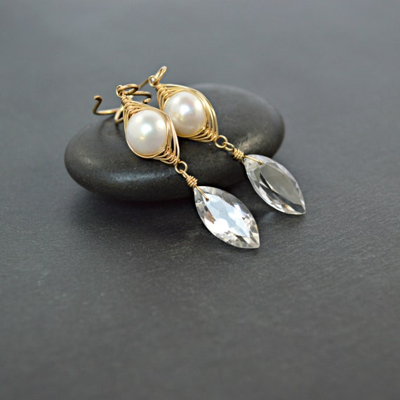 Perla y pendientes de cristal aretes de oro espiga tejido | Etsy