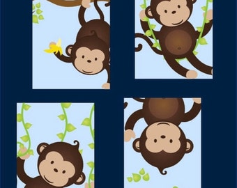 Monkey Art - Monkey Decor - Monkey Nursery Art - Kids Monkey Decor - Monkey Wall Art - Four 8x10 PRINTS ONLY