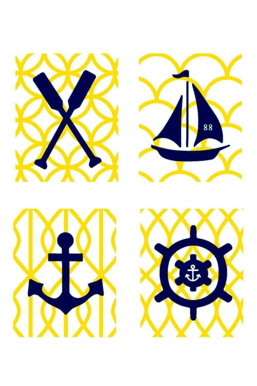 Yellow and Navy Nautical Nursery Wall Art 4 5x7 | Etsy