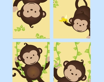 Monkey Nursery Art // Monkey Decor for Kids // Monkey Wall Art for boy or Girl // Animal Nursery Art // Set of Four 8x10 PRINTS ONLY