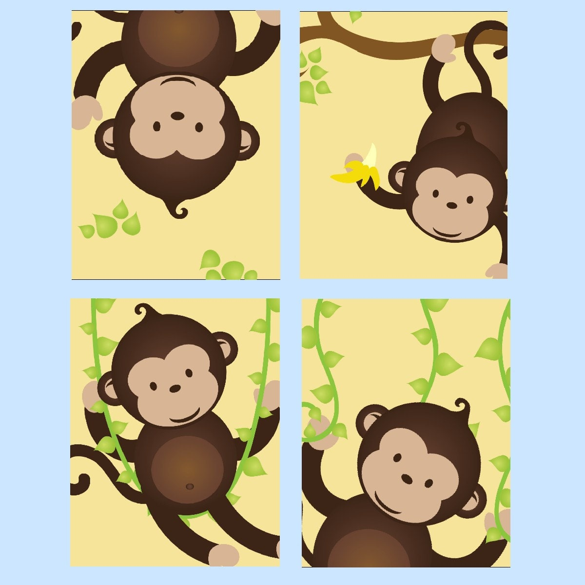 Monkey Nursery Art // Monkey Decor for Kids // Monkey Wall Art | Etsy