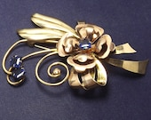 Harry Iskin Gold Filled Blue Stone Floral Pin Signed 1940s
