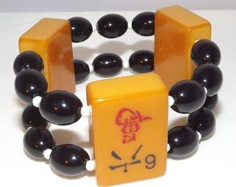 Repurposed OOAK Bakelite Mah Jong Tiles Vintage Black Beads Stretch Bracelet