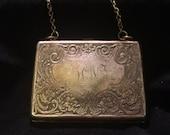 Art Nouveau German Silver Wrist Case Engraved Monogrammed LCN 3 Compartment Repoussé Wristlet Handbag Card Case