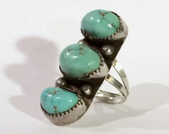 Native American Turquoise Ring Triple Stacked Stone Sterling Silver Size 7 Statement