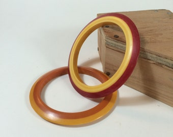 Honey and Butterscotch Bakelite Two-Tone Bangles